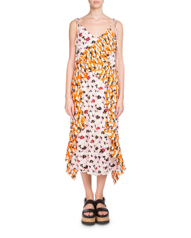 6550a5f274 Floral-Print Ruffled Slip Midi Dress