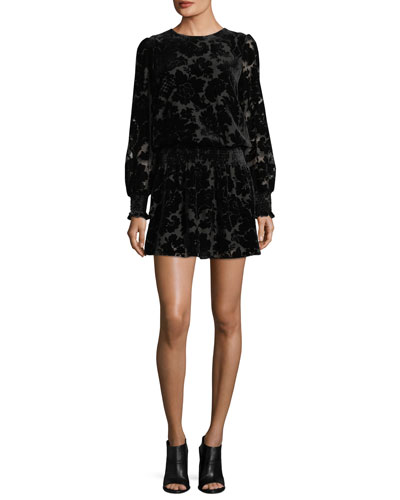 Carmindy Crewneck Long-Sleeve Velvet Burnout Cocktail Dress