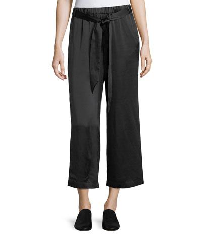 Wide-Leg Cropped Easy Silk Pants
