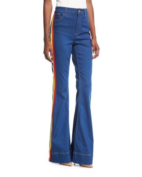 Alice + Olivia Kayleigh Bell-Bottom Jeans with Side