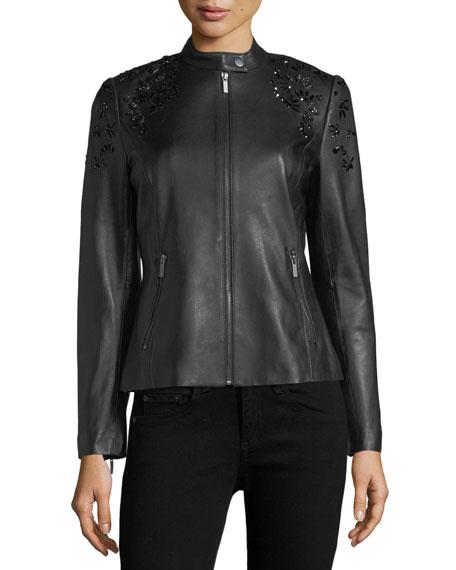 Bead-Embellished Leather Jacket