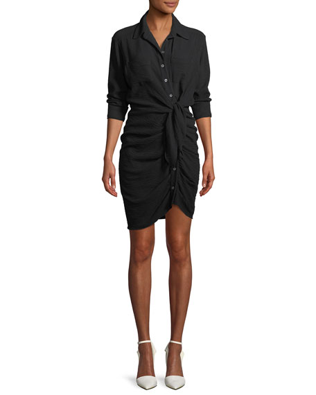 Veronica Beard Sierra Long-Sleeve Ruched Tie-Front Dress