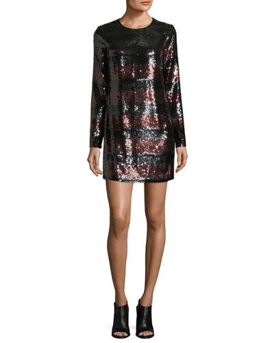 Breakers Jewel-Neck Sequin Mini Dress