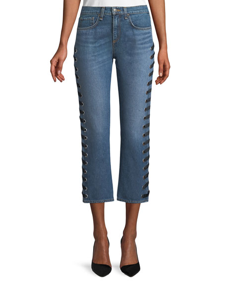 Veronica Beard Ines Straight-Leg Girlfriend-Style Jeans with