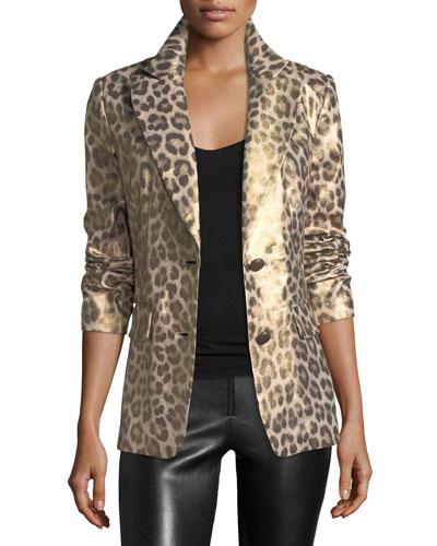 Leopard-Print Coated Blazer  Petite