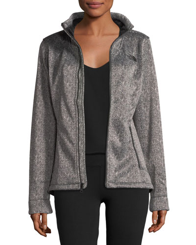 Apex Chromium Zip-Front Herringbone-Print Thermal Jacket