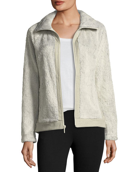 The North Face Fuzzy Fleece Zip Front Long Sleeve Jacket Ivory