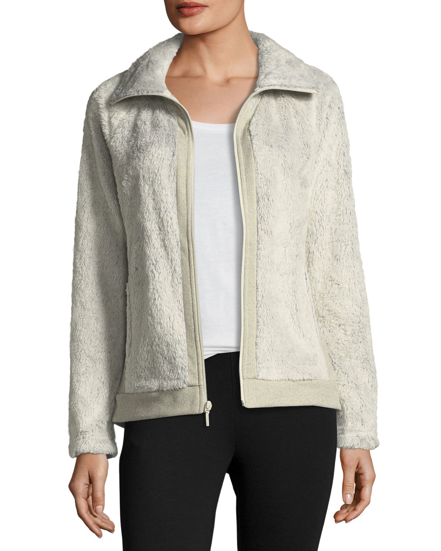 d4c501bfe Fuzzy Fleece Zip-Front Long-Sleeve Jacket, Ivory