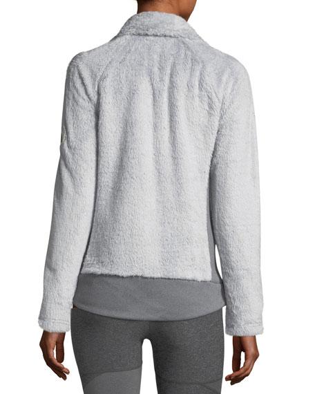 Fuzzy Fleece Zip-Front Long-Sleeve Jacket, Gray