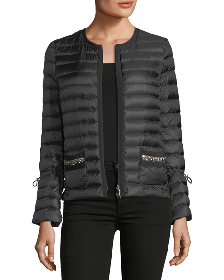 Moncler Alma Sequin Pocket Quilted Jacket