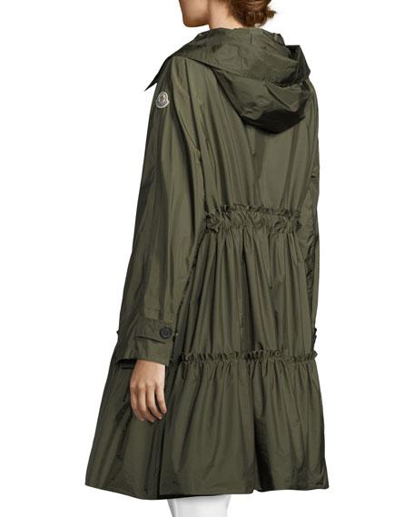 Long A-Line Frilly Rain Jacket
