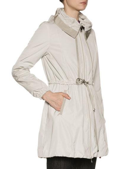 Topaze Long Self-Tie Top Coat w/ Hood