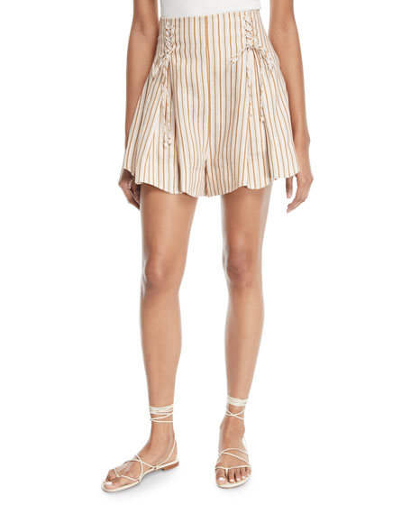 Painted Heart Striped Lace-Up Linen Shorts