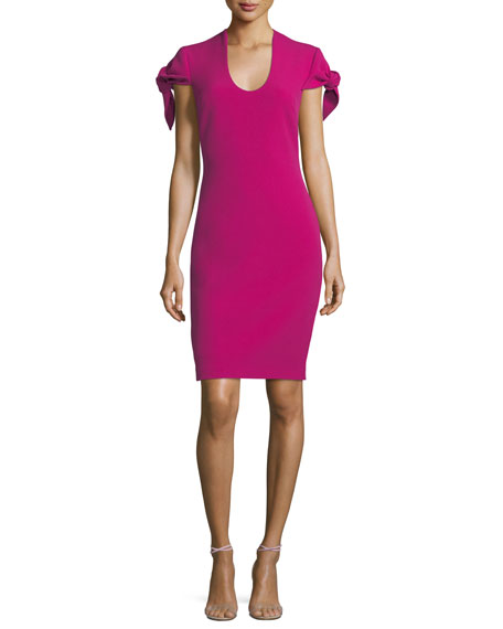 Self-Tie Short-Sleeve Sheath Dress