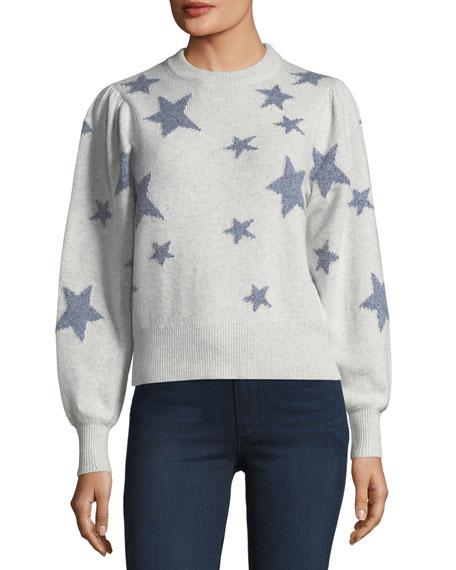 Rebecca Taylor Star-Intarsia Crewneck Pullover Sweater