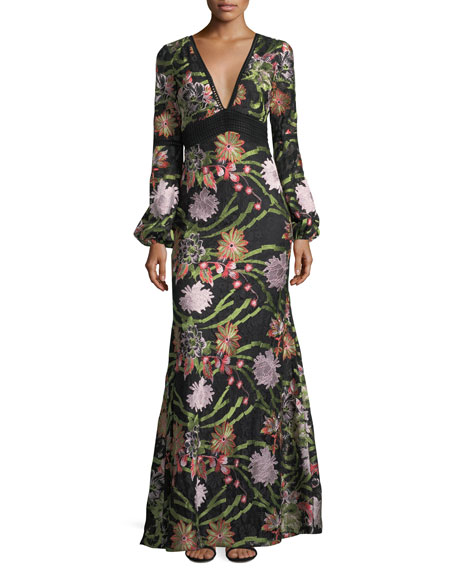 Badgley Mischka Boho Long Sleeve Lace Embroidery Gown In Black