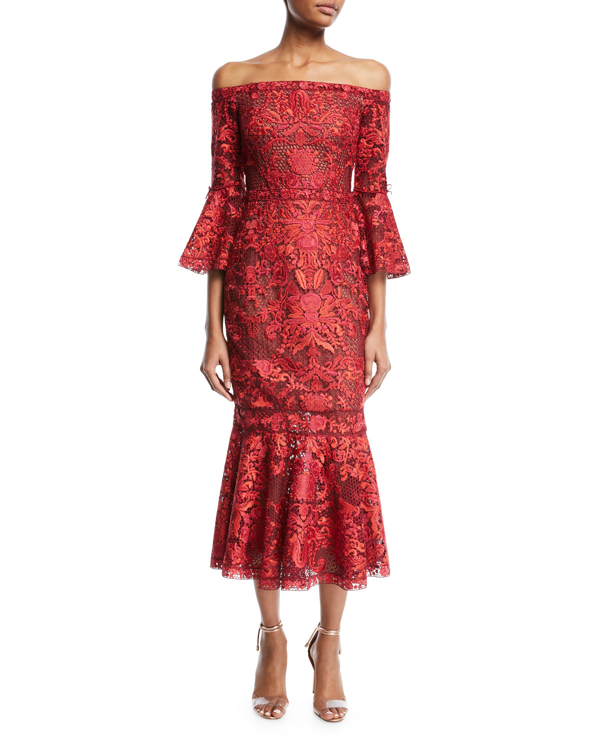bbfb64c002c Marchesa Notte Off-Shoulder Lace Bell-Sleeve Midi Cocktail Dress ...