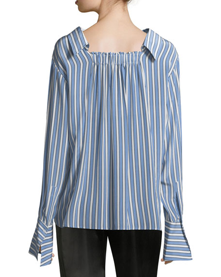 Striped Button-Front Gathered-Back Silk Satin Shirt