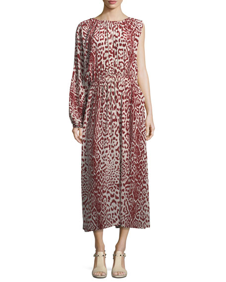Leopard-Print One-Sleeve Silk Dress