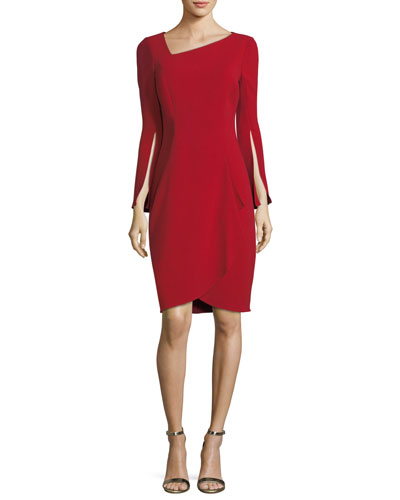 Asymmetric Long-Sleeve Slit Cocktail Dress
