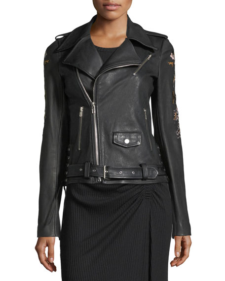 A.L.C. Benson Leather Moto Jacket with Floral-Embroidery