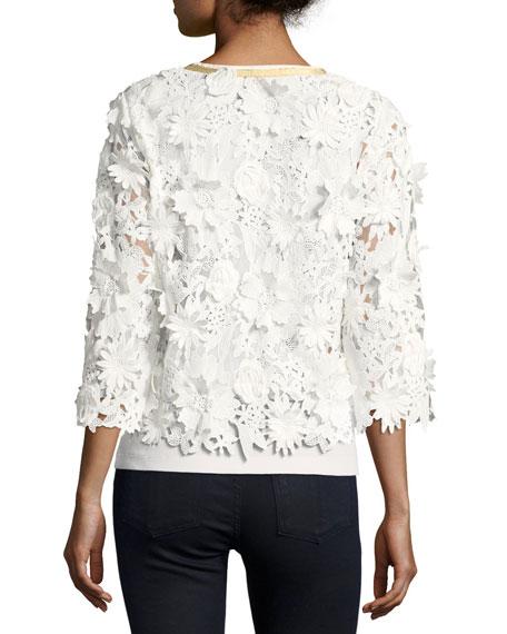 Michael Simon Plus Size Floral Crochet Jacket