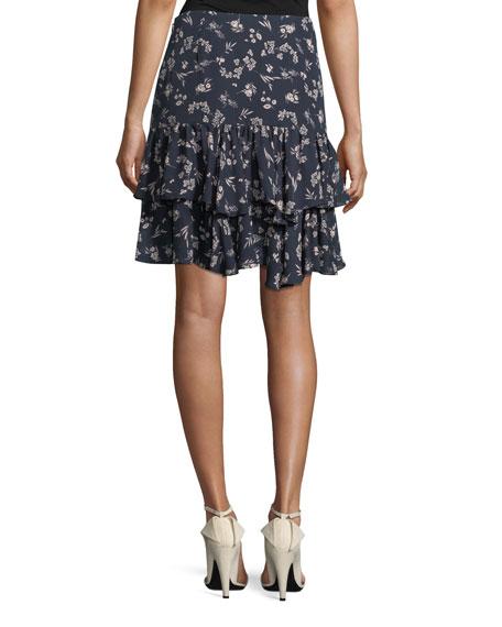 cinq a sept Carson Floral-Print Silk Flounce Skirt