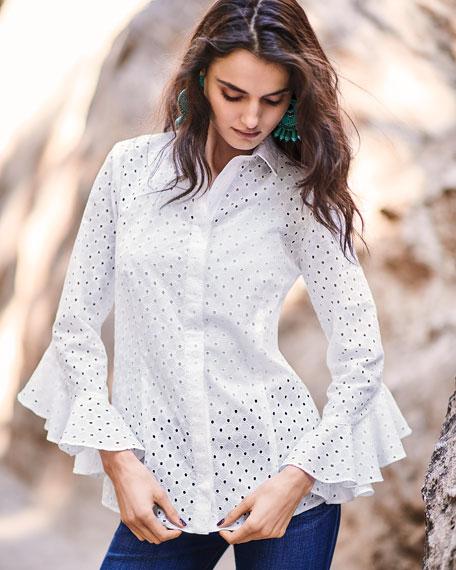 Finley Carmella Eyelet Flutter-Sleeve Cotton Top