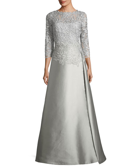Floral-Lace 3/4-Sleeve Gown