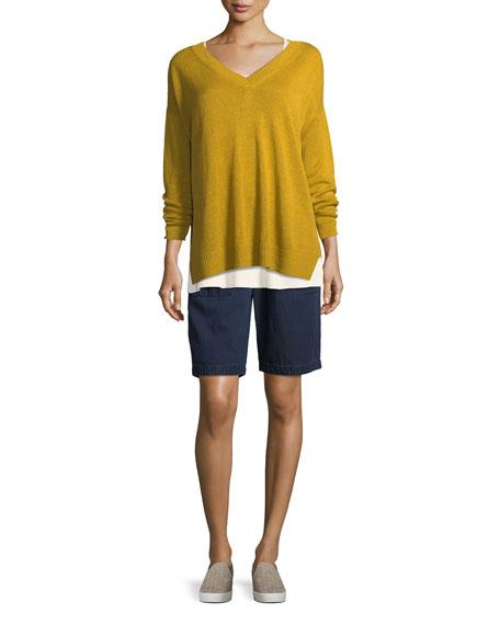 Linen Knit V-Neck Top, Petite