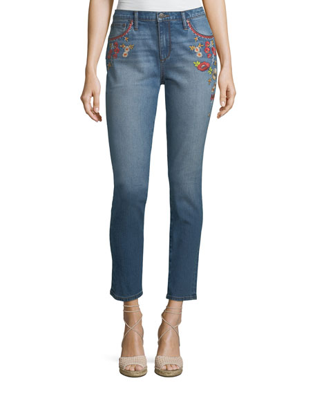 Embroidered Skinny Ankle Jeans