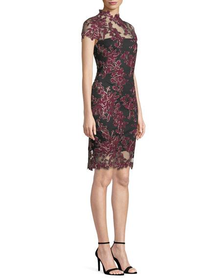 Lace Applique Cap-Sleeve Cocktail Dress
