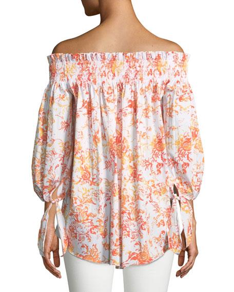 Lou Off-the-Shoulder Floral-Print Cotton Top