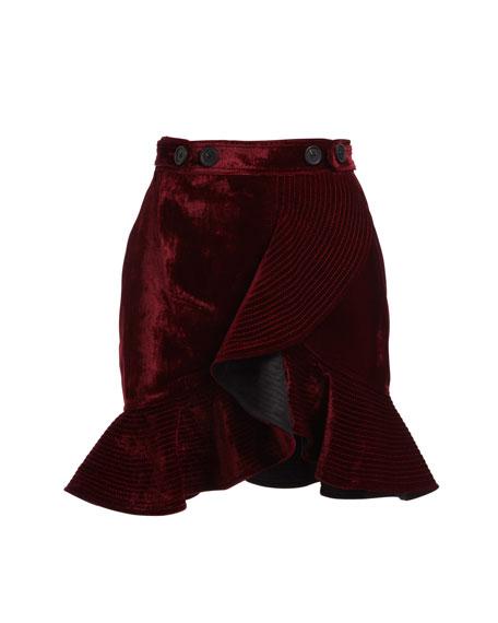 Velvet Flounce Mini Skirt
