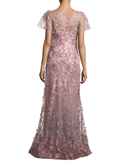 Floral Short-Sleeve Trumpet Gown