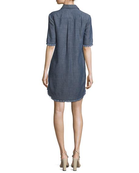 Crosshatch Chambray Mini Shirtdress