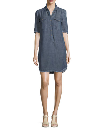 Crosshatch Chambray Mini Shirtdress
