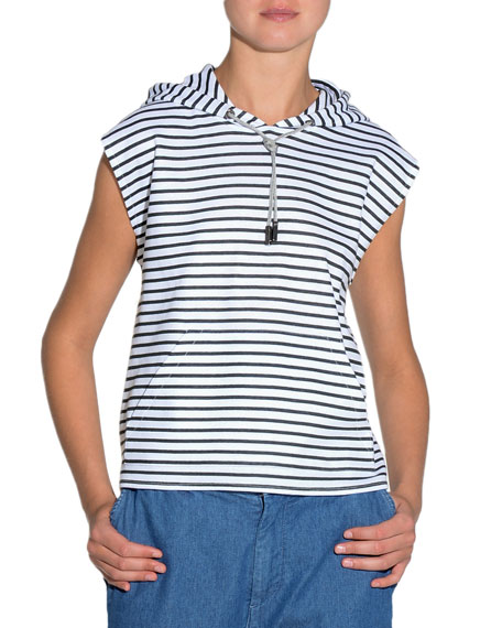 Eleventy Striped Sleeveless Jersey Top w/ Hood