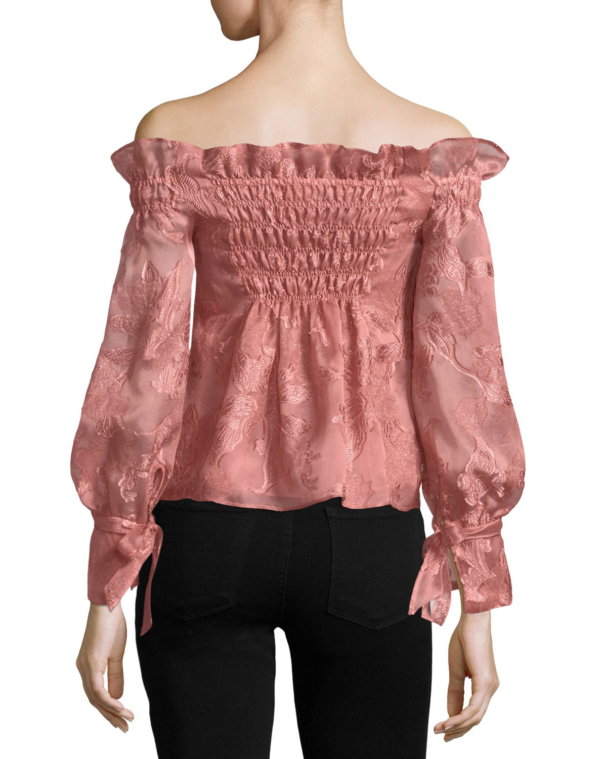 eabe36956f13f5 Rebecca Taylor Off-the-Shoulder Organza Top | Neiman Marcus