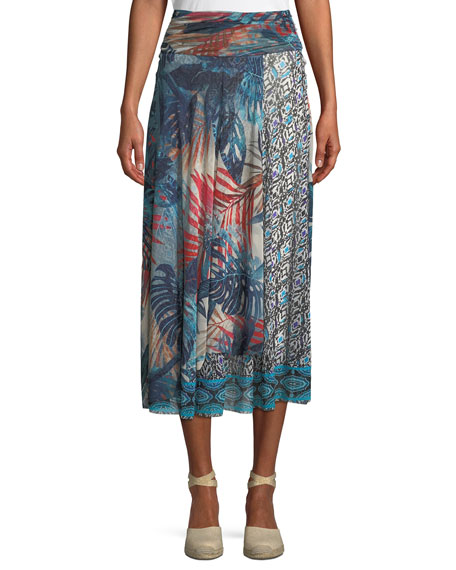 Jungle-Print Patch Long A-Line Skirt