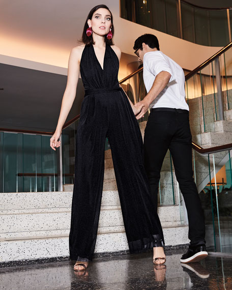 Image 2 of 3: Fuzzi Solid Halter-Strap Jumpsuit