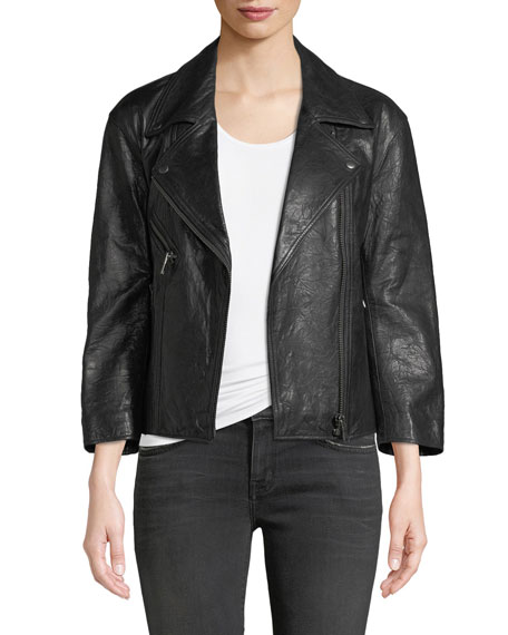 Kameke Zip-Front Lamb Leather Jacket with Painted Detail