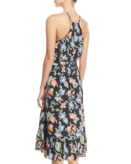 Deme Sleeveless Floral-Print Silk Midi Dress
