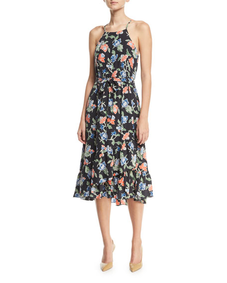 Deme Sleeveless Floral Print Silk Midi Dress by Joie