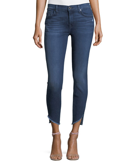 7 For All Mankind Skinny Ankle Jeans with Raw Angled Hem