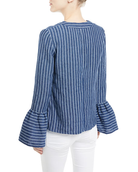 Pearce V-Neck Bell-Sleeve Striped Linen Top