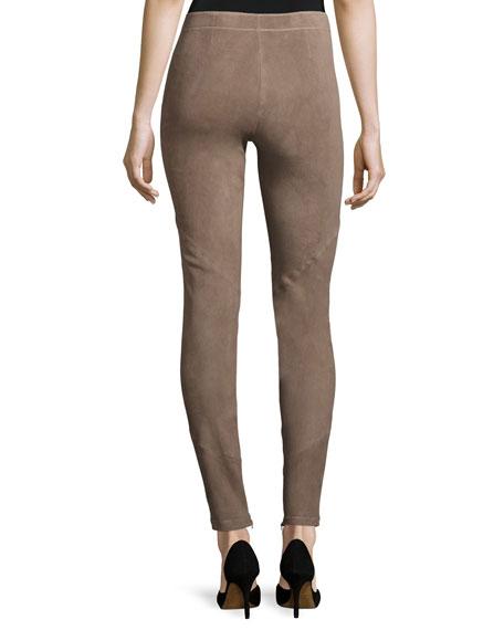 Suede Zip-Cuff Slim-Leg Pants