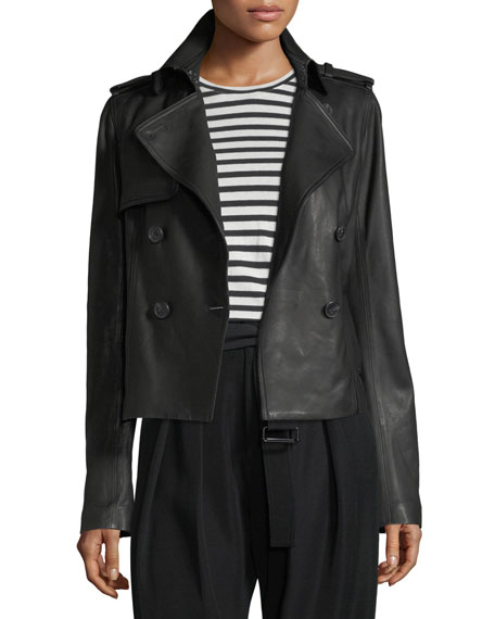 Cropped Lamb Leather Trench Coat by Neiman Marcus