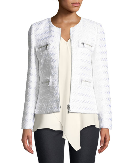 Lafayette 148 New York Emelyn Zip-Front Tweed Jacket