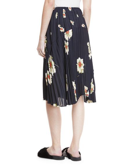 Gardenia Floral-Print Pleated Seamed Midi Skirt